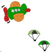 Aeroplane with parachutes embroidery design