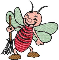 Smiling red bee with a broom