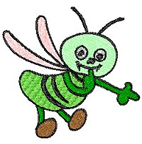 Green bee flying around