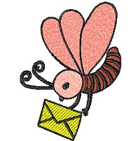 Bug flying around with a yellow envelope