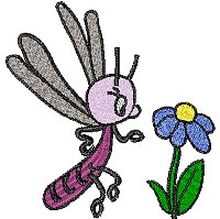Purple bug and a blue flower design