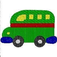 Bus embroidery design