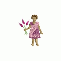 Free embroidery design of a young girl holding some flowers in her hand.