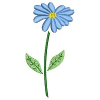 Embroidery design of a blue flower