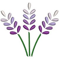 Embroidery design of three purple flowers