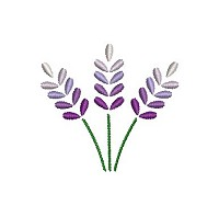 Embroidery design of 3 purple flowers