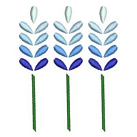 Embroidery design of three blue flowers