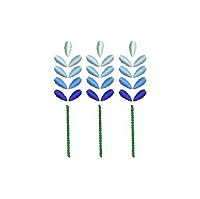 Embroidery design of 3 blue flowers