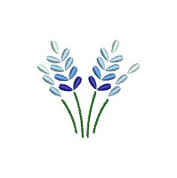 Embroidery design of 4 blue flowers