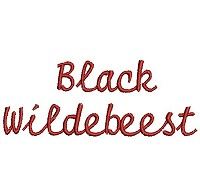Embroidery design of the word 'Black Wildebeest'.