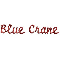 Embroidery design of the word 'Blue Crane'