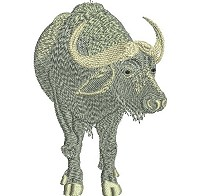 Embroidery design of an African buffalo.