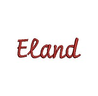 Embroidery design of the word 'Eland'.