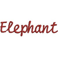 Embroidery design of the word 'Elephant'.