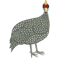 Embroidery design of a helmeted guinea fowl standing upright.