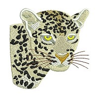 Embroidery design of a leopard head for the 4x4 inch embroidery hoop.