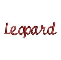 Embroidery design of the word 'Leopard'.