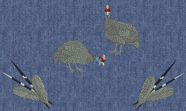 Embroidery project - grouping the 2 guinea fowl designs together with the porcupine quill and feathers design.