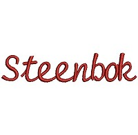 Embroidery design of the word 'Steenbok'.