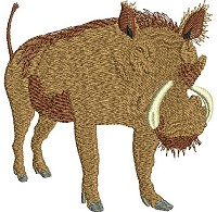 Embroidery design of a warthog.
