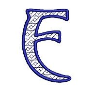 Embroidered letter E - big