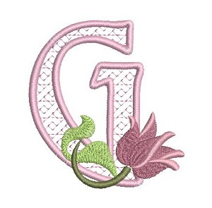 The embroidered letter G with a pink flower as accent.