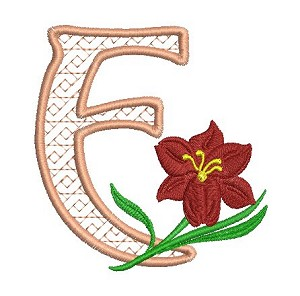 The embroidered letter F with a red flower as accent.g
