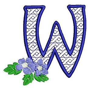 The embroidered letter W with a blue flower as accent.