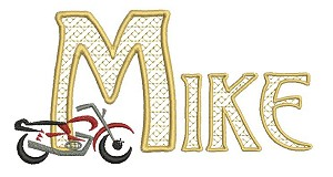 The name Mike embroidered using the Alphabet Lace designs. Here I have used the motorcycle design as an accent for the project