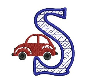 The embroidered letter S with the red car design as accent.