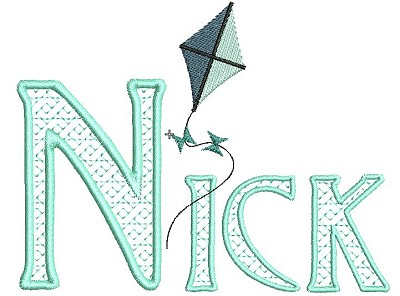 The name Nick embroidered using the Alphabet Lace designs with the kite design as embelishment.