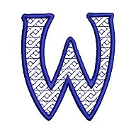 Embroidered letter W - big