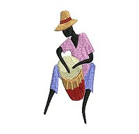 Embroidery design of a man playing a drum.