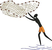 Embroidery design of a man throwing a cast net.