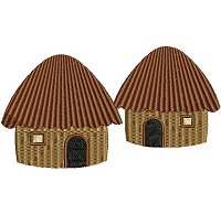 Embroidery design of 2 small thatched huts.