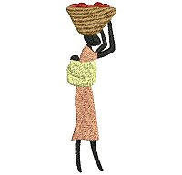 Embroidery design of a women carrying her baby on her back and a basket on her head.