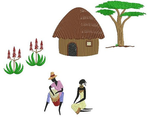 Project layout idea using the African Village Life embroidery designs.