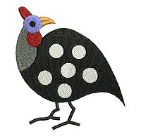 Guinea fowl embroidery design no 1.