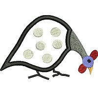 Guinea Fowl embroidery design no 2 as an applique embroidery design.