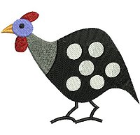 Guinea fowl embroidery design no 3.
