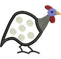 Guinea fowl embroidery design no 3 as an applique embroidery design.