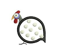 Guinea fowl embroidery design no 4 as an small applique embroidery design.