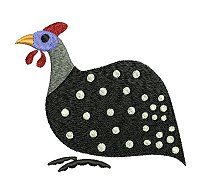 Guinea fowl embroidery design no 6.