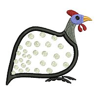 Guinea fowl embroidery design no 6 as an applique embroidery design.
