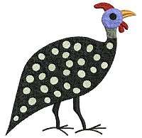 Guinea fowl embroidery design no 7.
