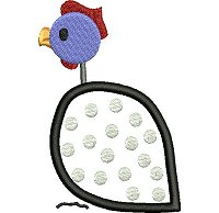 Guinea fowl embroidery design no 10 as an applique embroidery design.