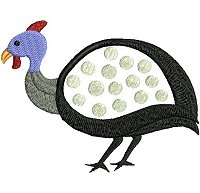 Guinea fowl embroidery design no 12 as an applique embroidery design.