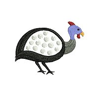 Guinea fowl embroidery design no 12 as a small applique embroidery design.