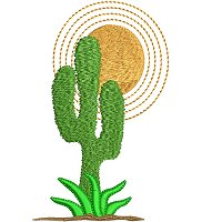 Embroidery design of a cactus plant.