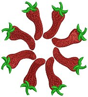Red peppers embroidery design